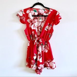 Red Floral Tie Front Romper